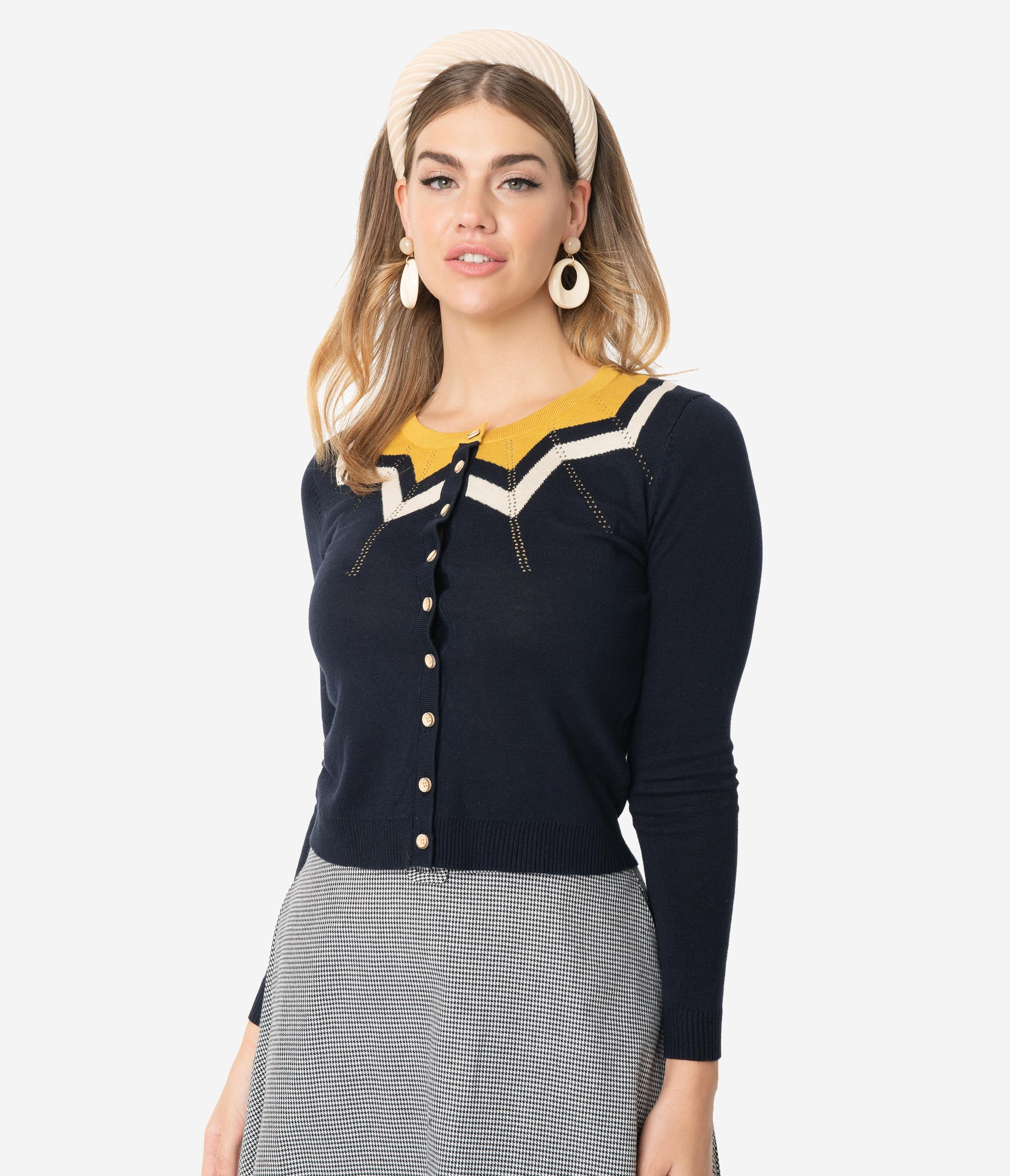 Authentic Natural 1950s Makeup History and Tutorial Navy Blue  Mustard Chevron Button Up Long Sleeve Knit Cardigan $52.00 AT vintagedancer.com