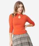 Retro Style Orange Cotton High Collar Keyhole Top