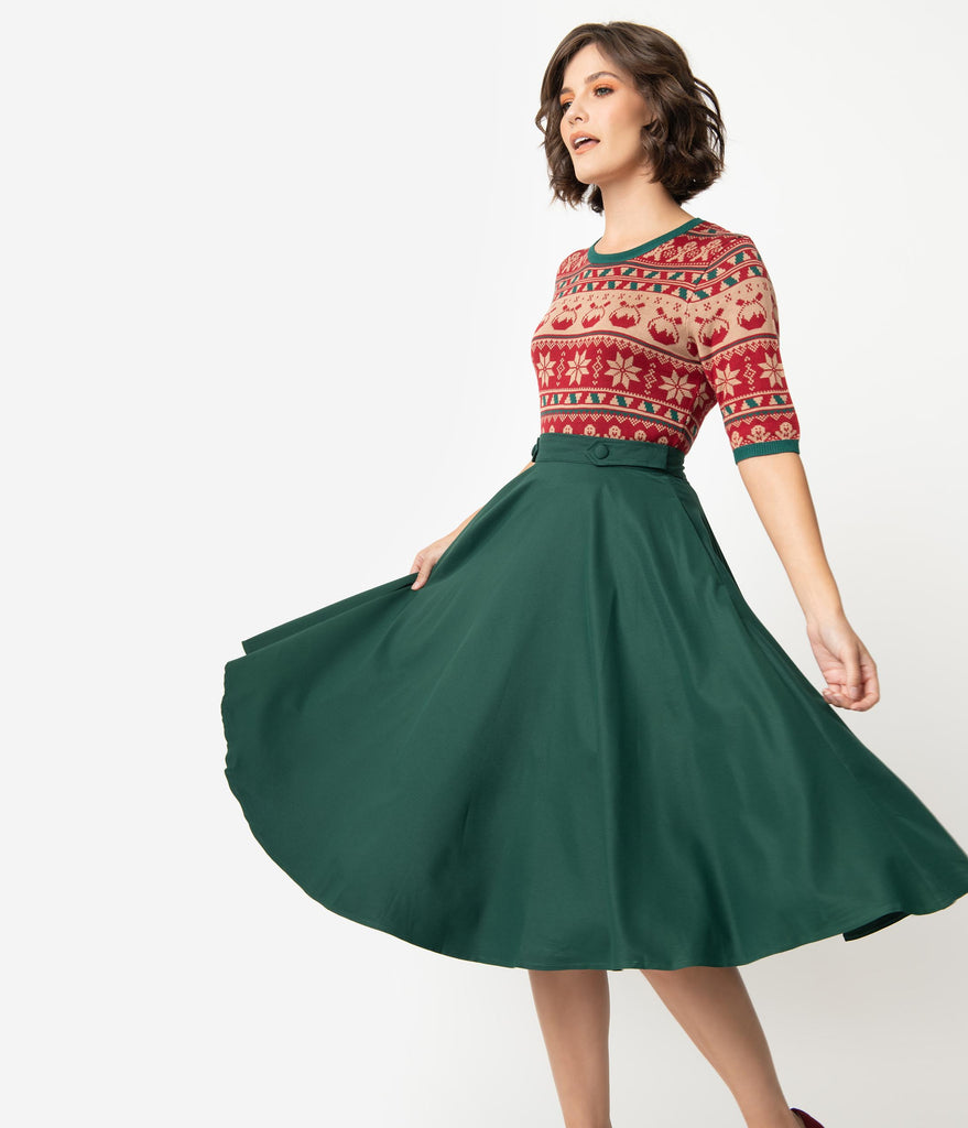 1950s Style Forest Green Button Tab High Waist Swing Skirt