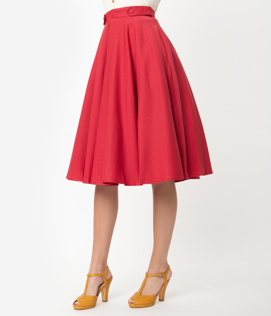 1950s Style Red Button Tab High Waist Swing Skirt