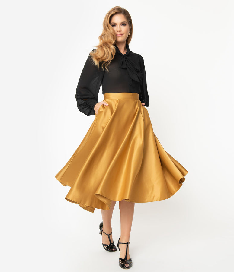 1950s Style Gold Pleated High Waist Swing Skirt