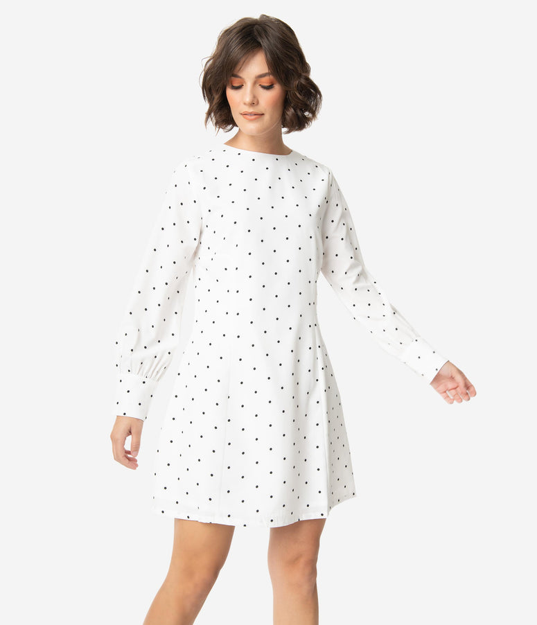 Retro Style White & Black Pin Dot Long Sleeve A-Line Dress