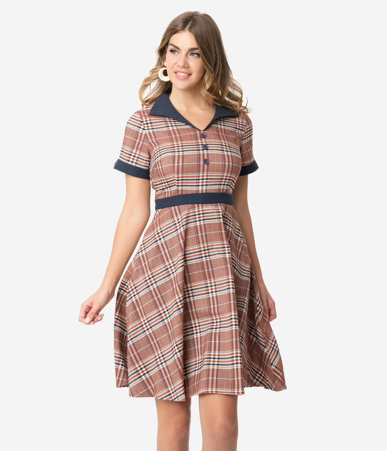 1950s Style Red & Navy Plaid Woven Short Sleeve Swing Dress