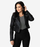 Collectif Retro Style Black Sparkle Outlaw Biker Cropped Jacket