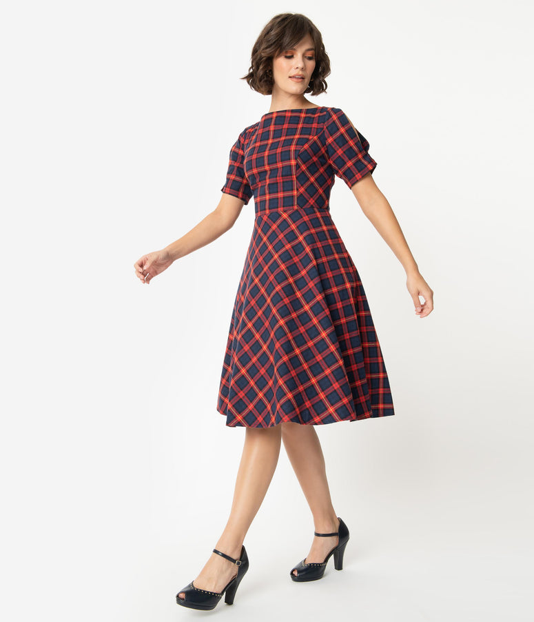 1950s Style Navy Blue & Red Plaid Split Sleeve Swing Dress