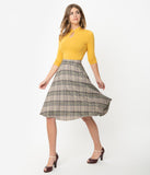 1950s Style Tan & Navy Plaid Woven High Waist Swing Skirt