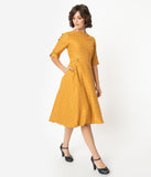 Retro Style Mustard Yellow Windowpane Button Sleeved Swing Dress