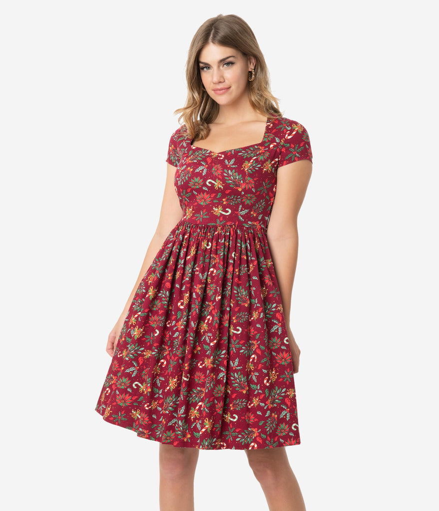 Retro Style Burgundy Red Holiday Print Cotton Cap Sleeve Swing Dress