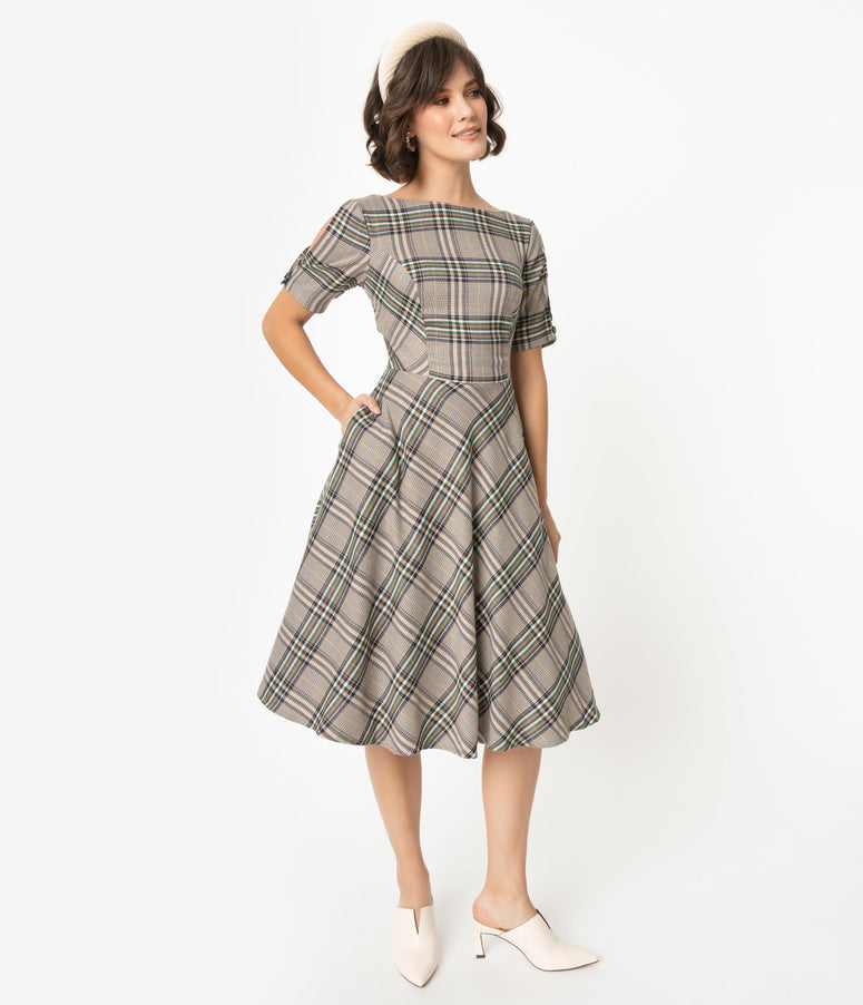 1950s Style Brown & Ivory Plaid Split Sleeve Swing Dress