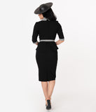 Unique Vintage 1940s Black & Gingham Peplum Cooper Suit Dress
