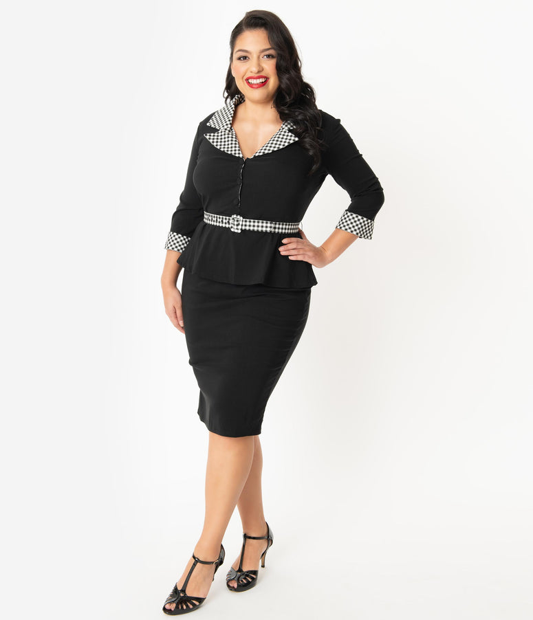Unique Vintage Plus Size 1940s Black & Houndstooth Cooper Suit Dress