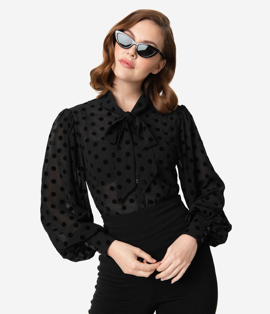 Unique Vintage Black Swiss Dot Crepe Neck Tie Gwen Blouse