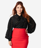 Unique Vintage Plus Size Black Swiss Dot Crepe Neck Tie Gwen Blouse