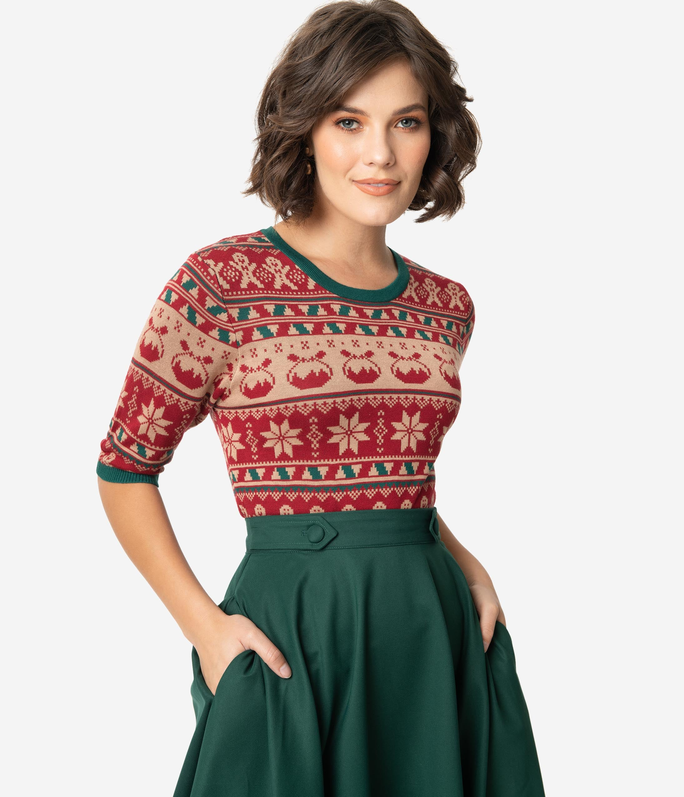 1930s Style Blouses, Shirts, Tops | Vintage Blouses Retro Style Red  Green Holiday Fair Isle Knit Sweater $58.00 AT vintagedancer.com