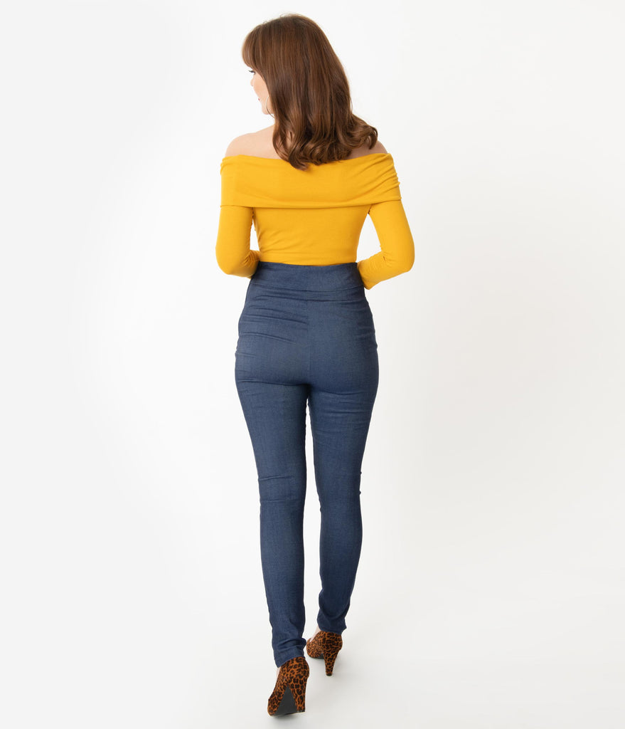 Unique Vintage Blue Denim High Waist Rizzo Cigarette Pants