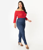 Unique Vintage Plus Size Blue Denim High Waist Rizzo Cigarette Pants