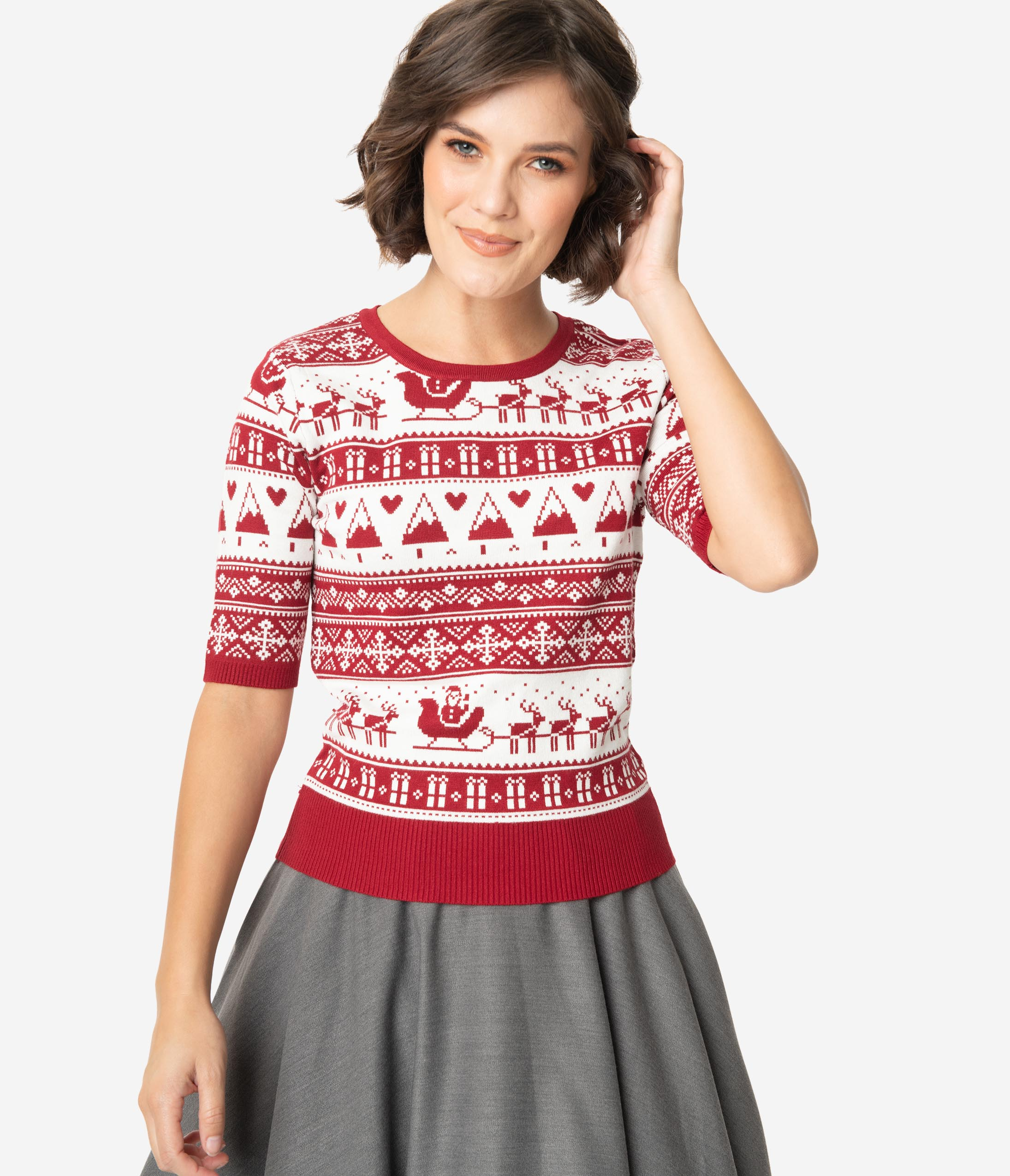 1930s Style Sweaters | Vintage Sweaters Retro Style Red  White Christmas Fair Isle Sleeved Knit Sweater $52.00 AT vintagedancer.com