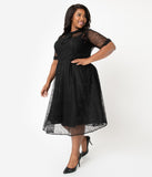 Unique Vintage Plus Size 1950s Black Lace Sleeved Patti Swing Dress