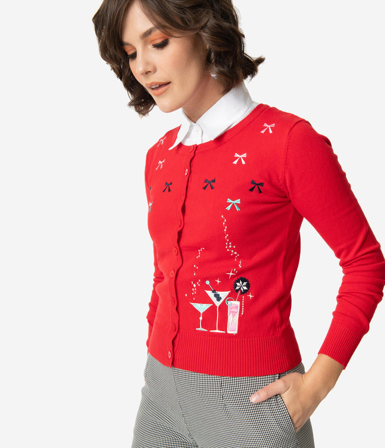 Retro Style Red Holiday Cocktails Long Sleeve Knit Cardigan