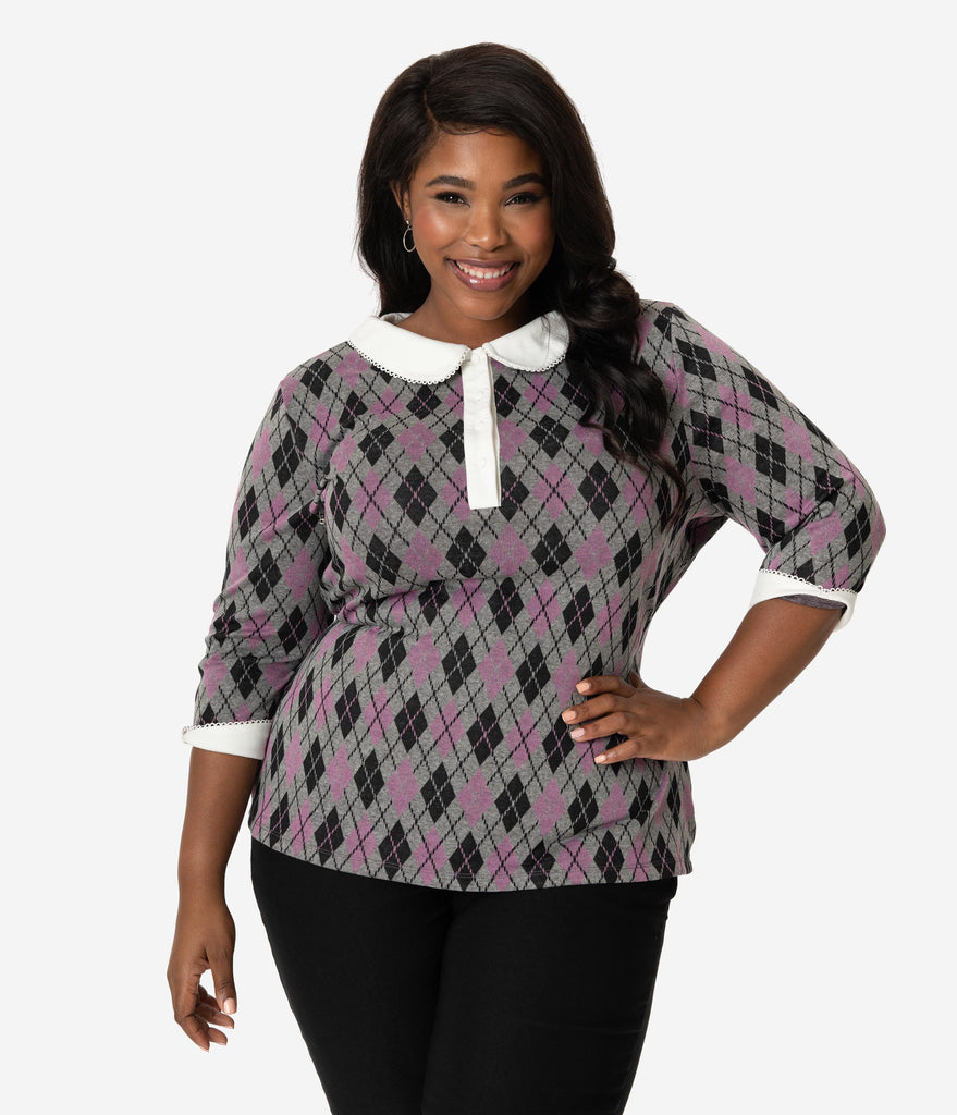 Unique Vintage Plus Size 1950s Grey Argyle Knit Sleeved Sara Blouse