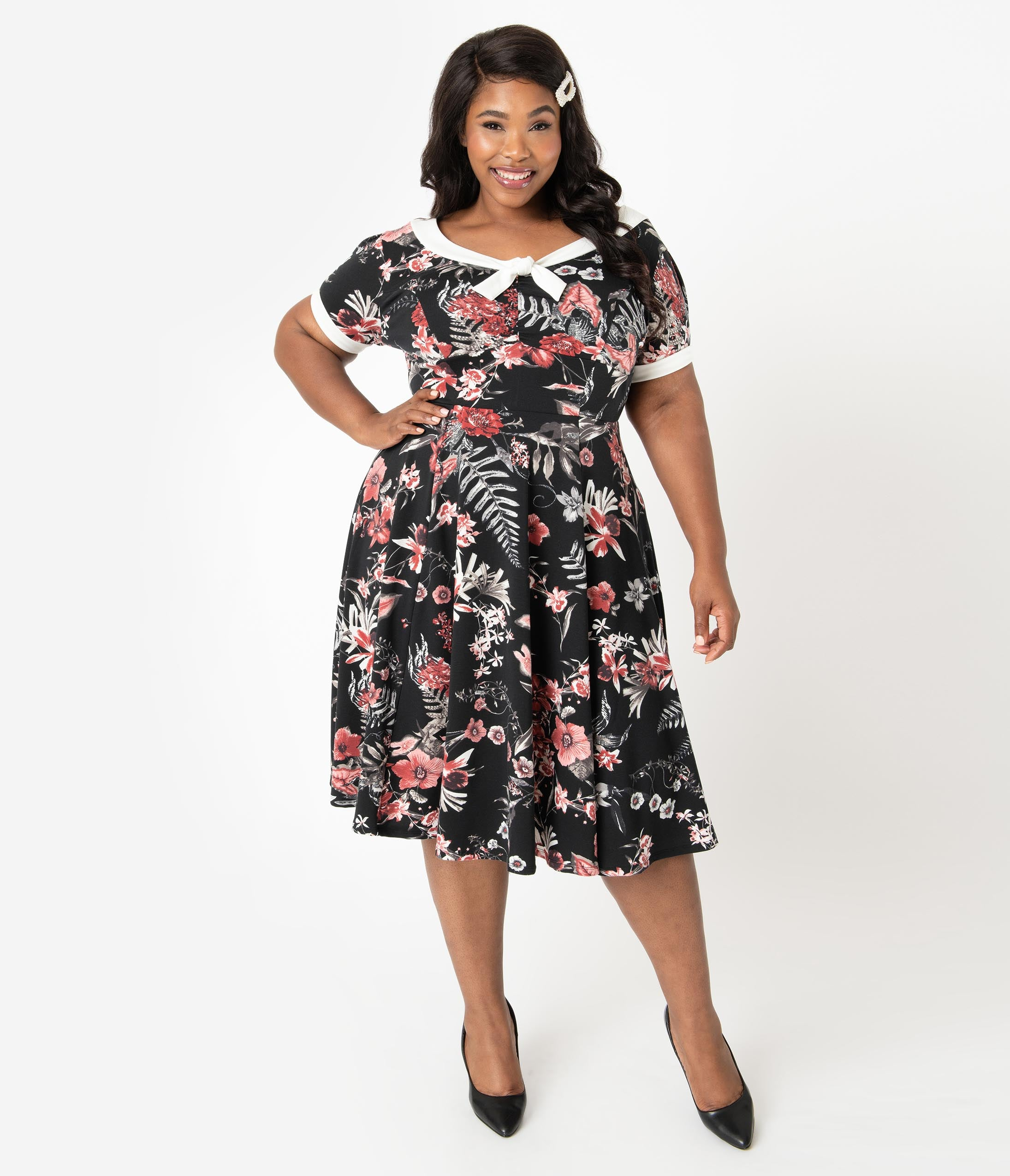 1940s Plus Size Dresses | Swing Dress, Tea Dress Unique Vintage Plus Size 1940S Style Black  Red Floral Natalie Swing Dress $88.00 AT vintagedancer.com