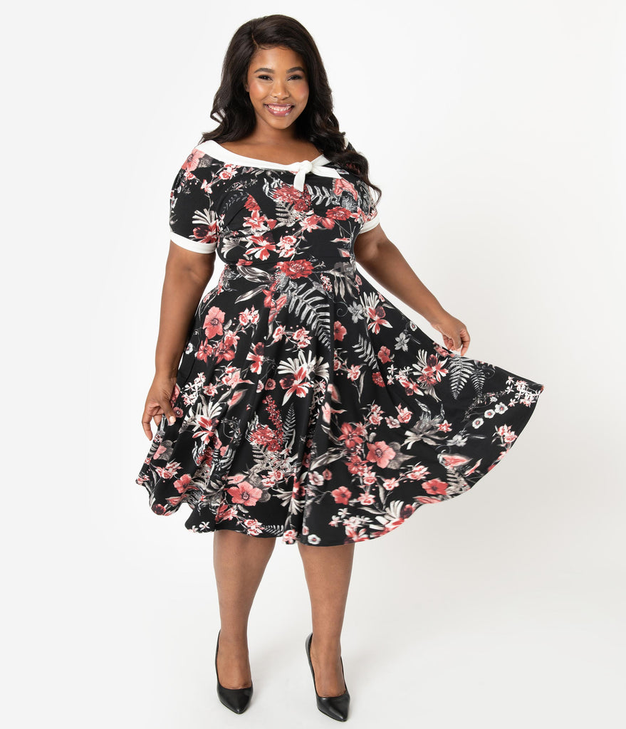 Unique Vintage Plus Size 1940s Style Black & Red Floral Natalie Swing Dress