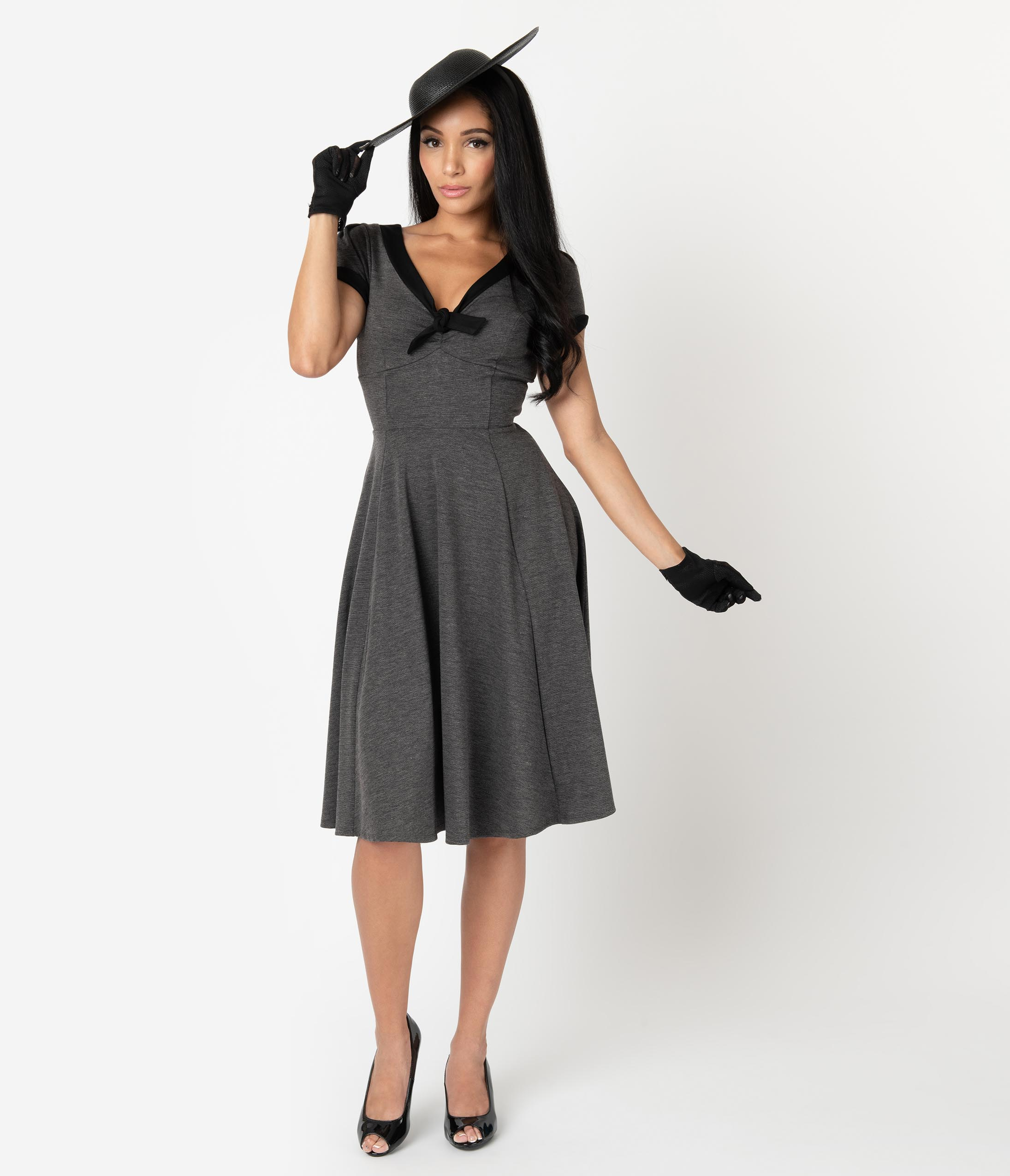 500 Vintage Style Dresses for Sale | Vintage Inspired Dresses Unique Vintage 1940S Style Grey  Black Natalie Swing Dress $78.00 AT vintagedancer.com