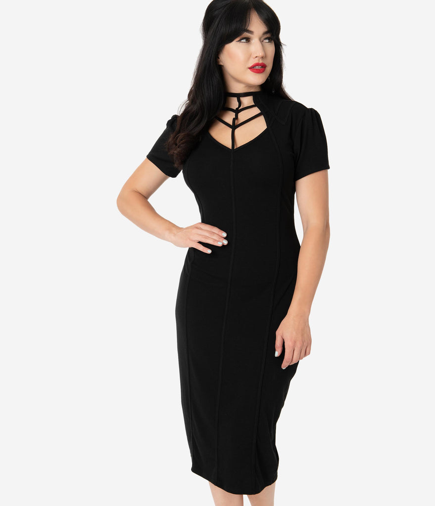 Unique Vintage 1960s Black Cage Allison Wiggle Dress