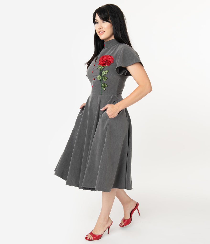 Unique Vintage Grey & Embroidered Red Rose Baltimore Swing Dress