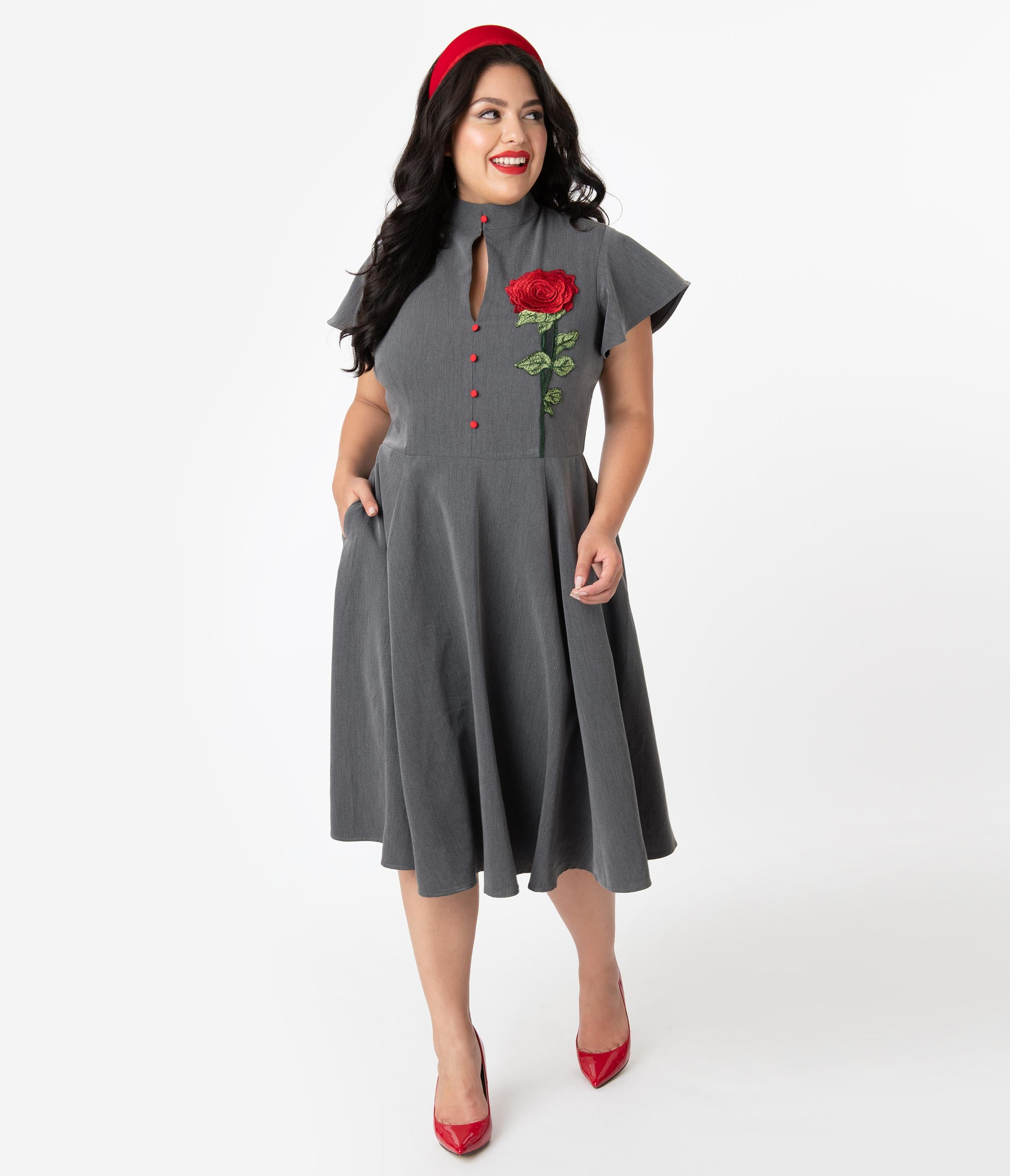 1940s Plus Size Dresses | Swing Dress, Tea Dress Unique Vintage Plus Size Grey  Embroidered Red Rose Baltimore Swing Dress $98.00 AT vintagedancer.com