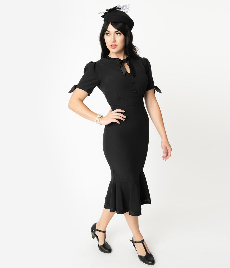 Stop Staring! 1940s Style Black Fishtail Florencia Wiggle Dress