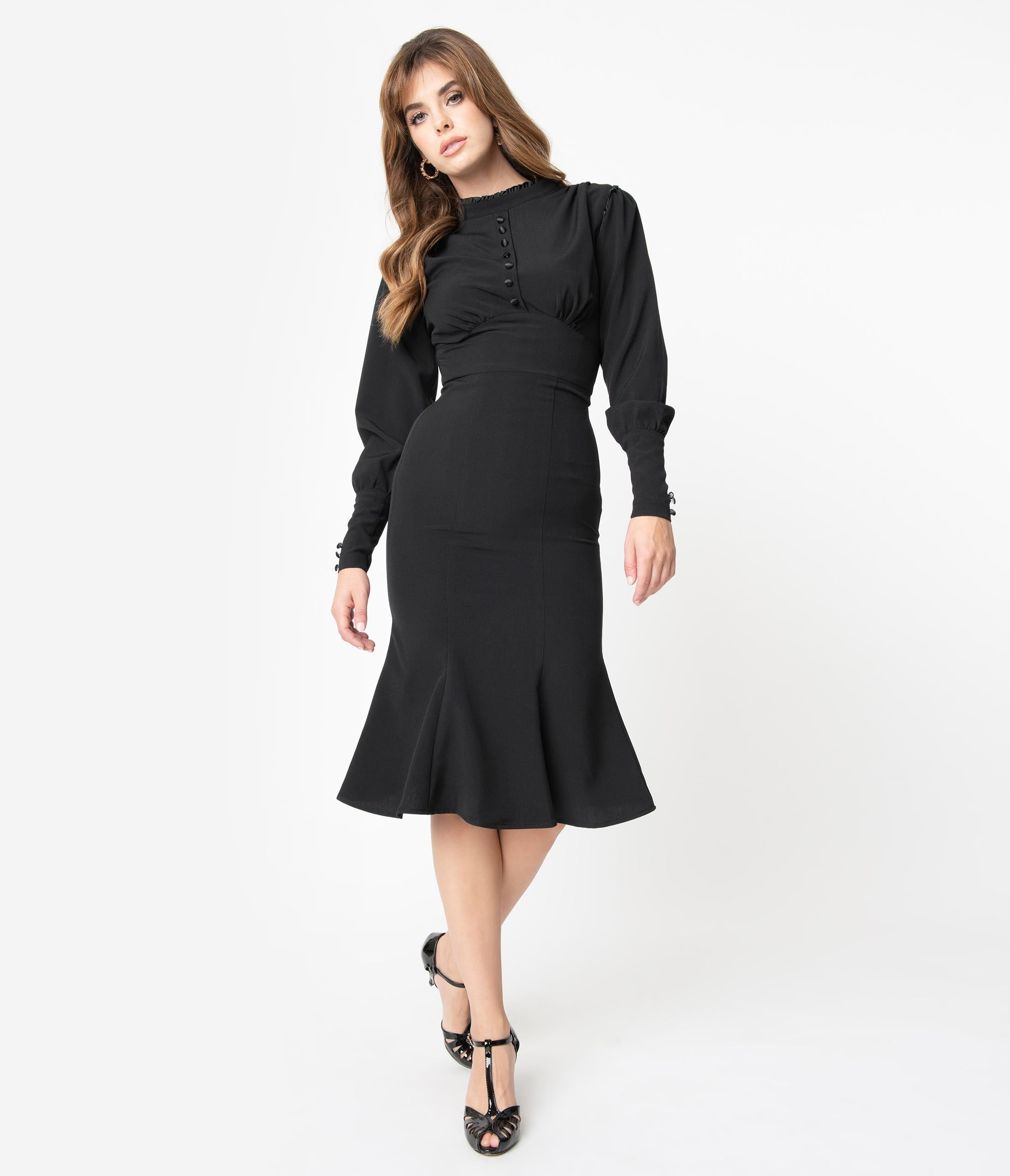 What Did Women Wear in the 1940s? 40s Fashion Trends Stop Staring 1940S Black Maritza Fishtail Wiggle Dress $172.00 AT vintagedancer.com