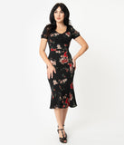 Stop Staring! 1930s Black & Red Floral Cap Sleeve Railene Dress