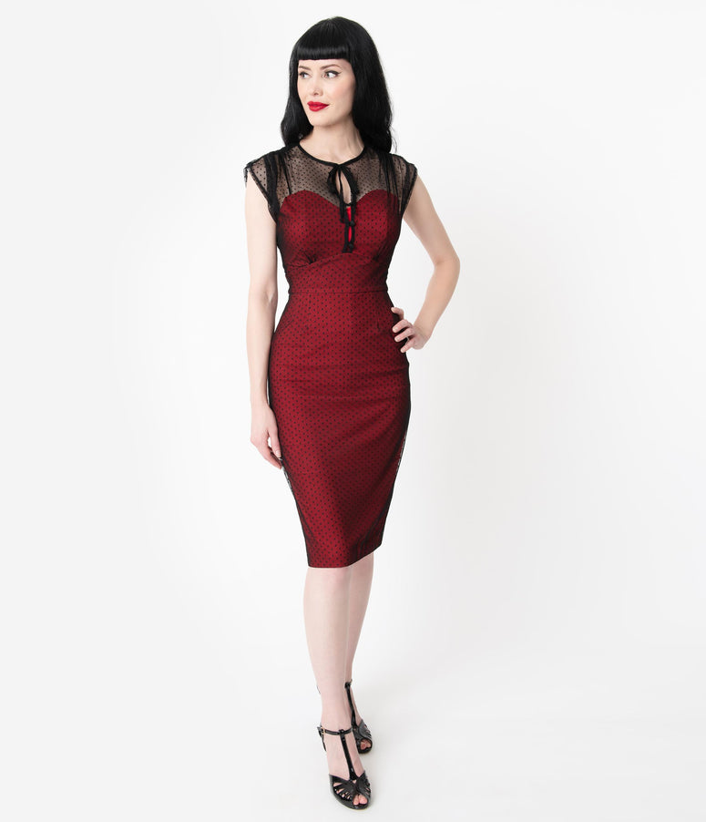 Stop Staring 1940s Red & Black Swiss Dot Mesh Twilight Wiggle Dress