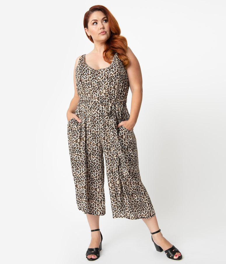 Plus Size Retro Style Leopard Print Relaxed Palazzo Jumpsuit