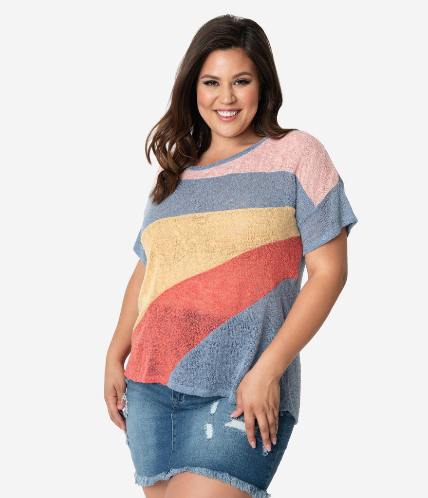 Plus Size Multicolor Blocked Loose Knit Tee