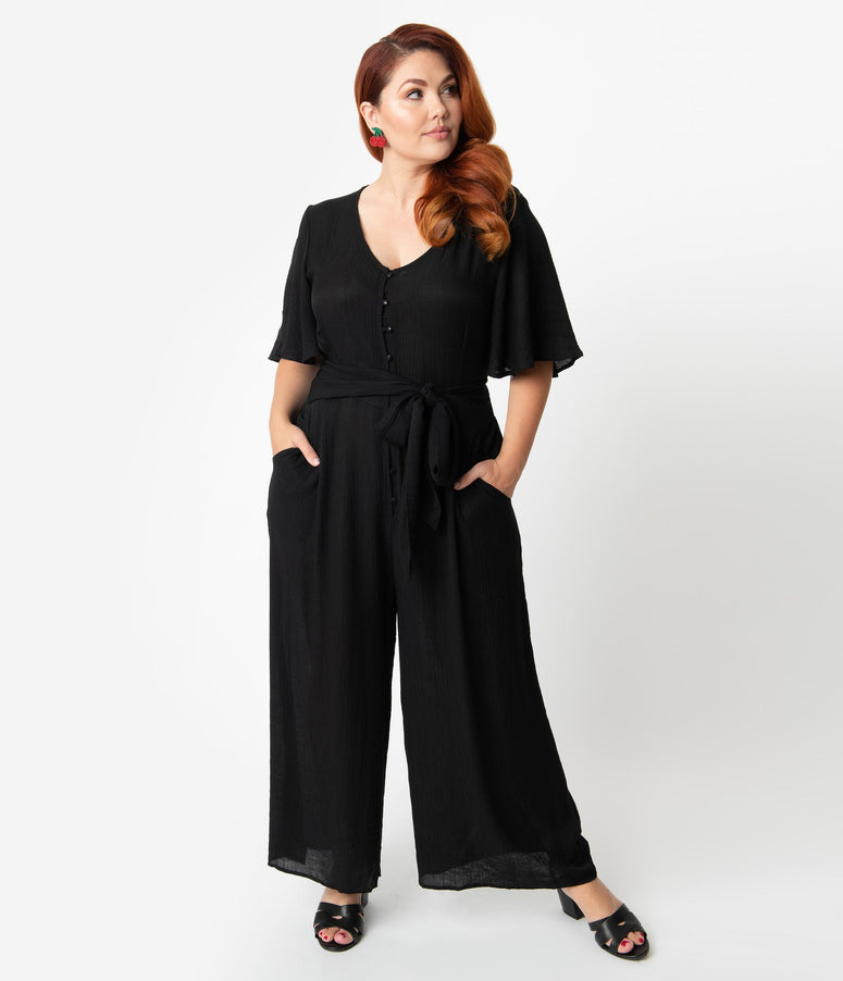 b50b693550a334 Plus Size Black Woven Butterfly Sleeve Wide Leg Jumpsuit
