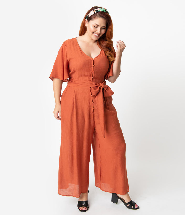 Plus Size Rust Brown Woven Butterfly Sleeve Wide Leg Jumpsuit