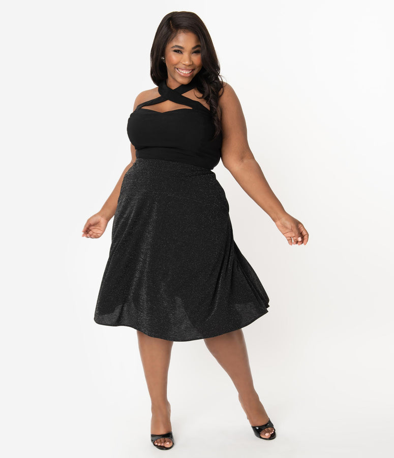 Unique Vintage Plus Size Retro Black Sparkle High Waist Vivien Swing Skirt