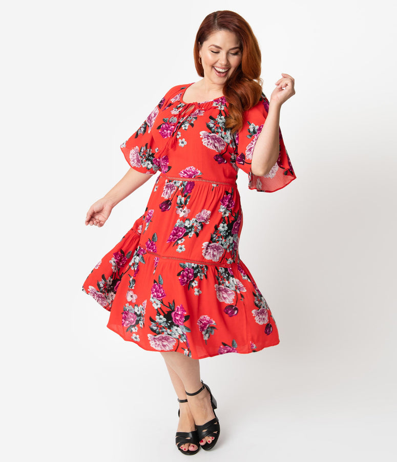 Plus Size Retro Style Tomato Red & Purple Floral Sleeved Midi Dress