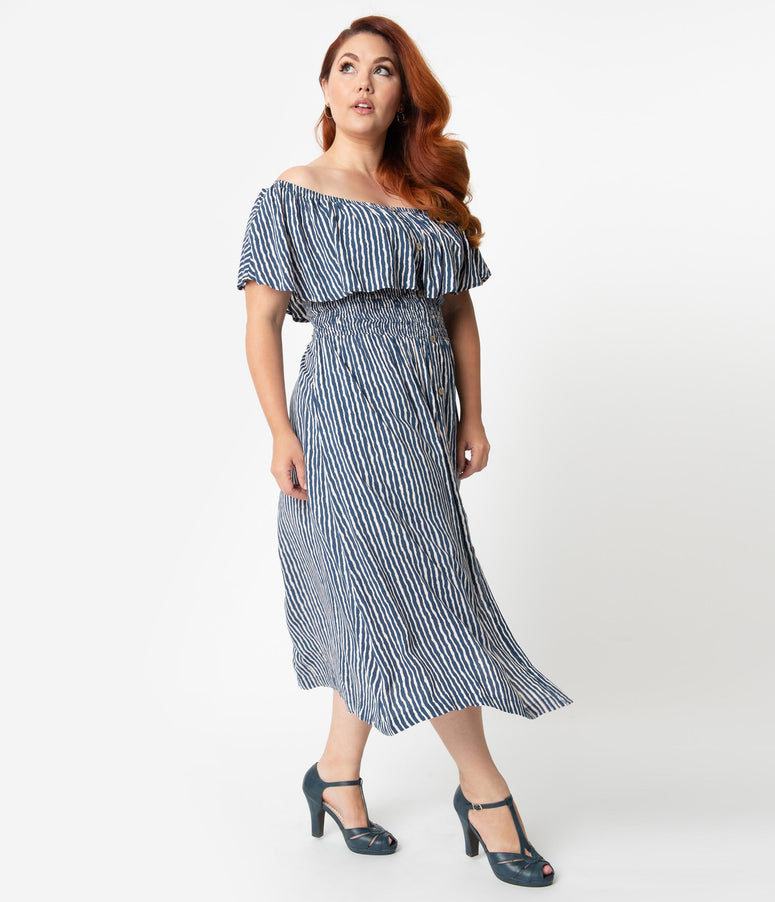 dd23a69bd775de Plus Size Blue & White Stripe Off The Shoulder Ruffle Midi Dress