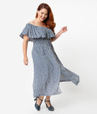 Plus Size Blue & White Stripe Off The Shoulder Ruffle Midi Dress