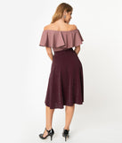 Unique Vintage Retro Wine Sparkle High Waist Vivien Swing Skirt