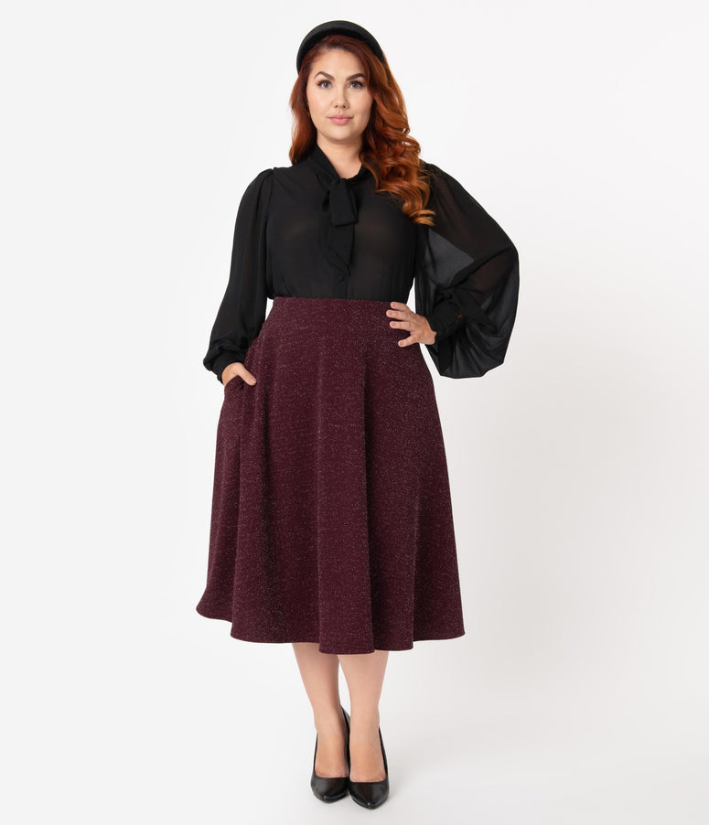 Unique Vintage Plus Size Retro Wine Sparkle High Waist Vivien Swing Skirt