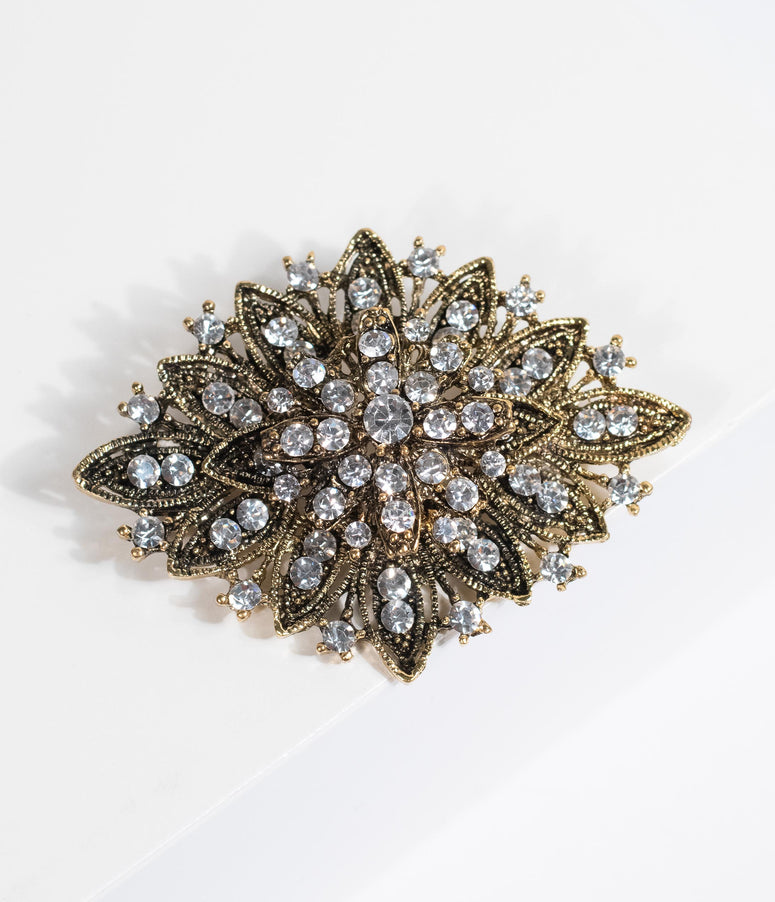 Vintage Style Antique Gold & Silver Rhinestone Brooch