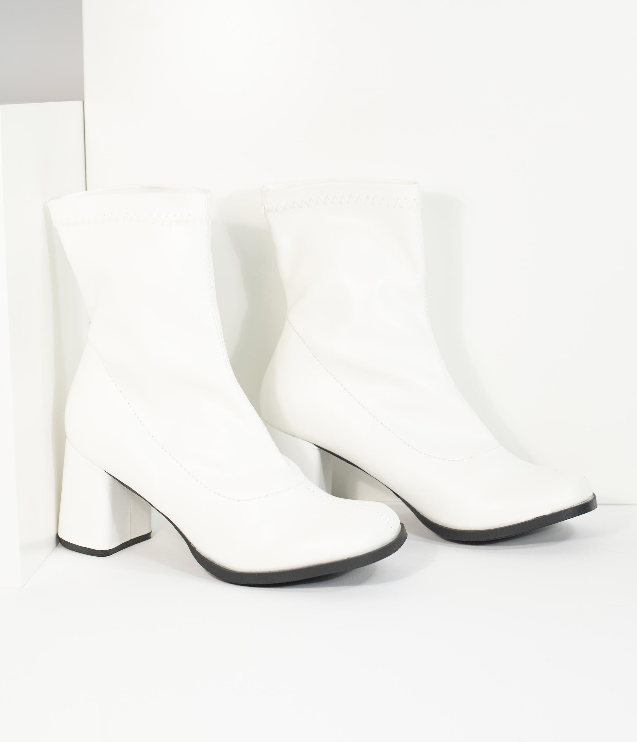 70s Disco Fashion: Disco Clothes, Outfits for Girls Retro Style White Matte Leatherette Ankle Go Go Boots $54.00 AT vintagedancer.com