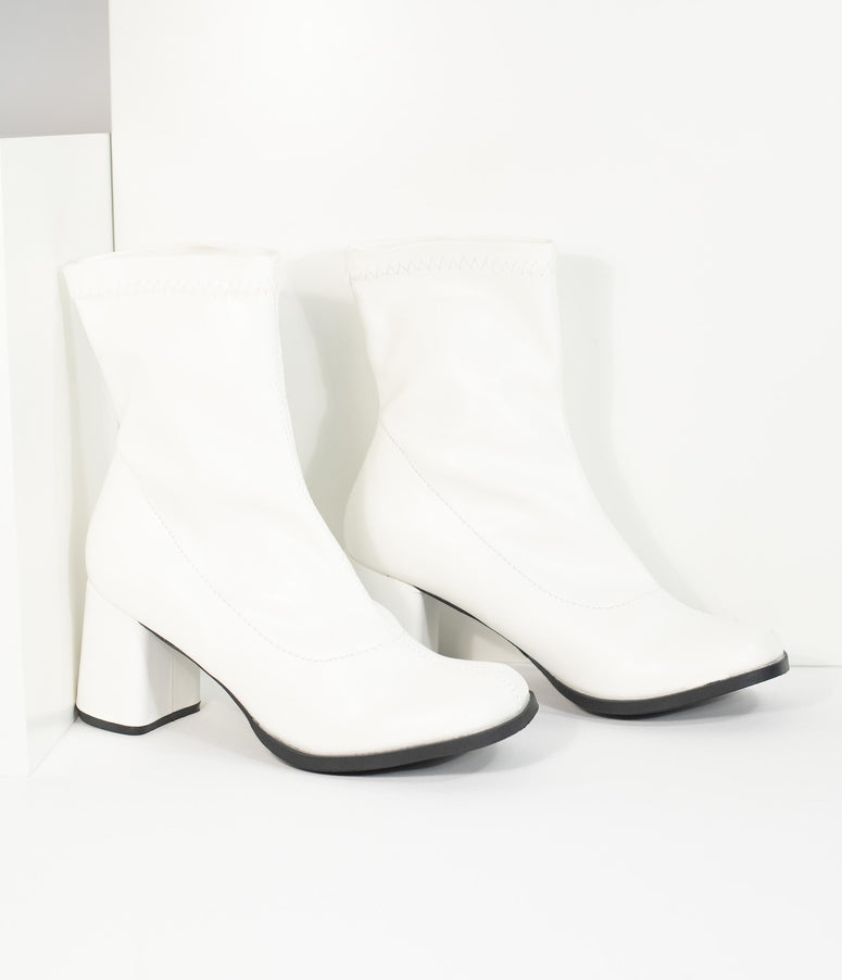 Retro Style White Matte Leatherette Ankle Go Go Boots
