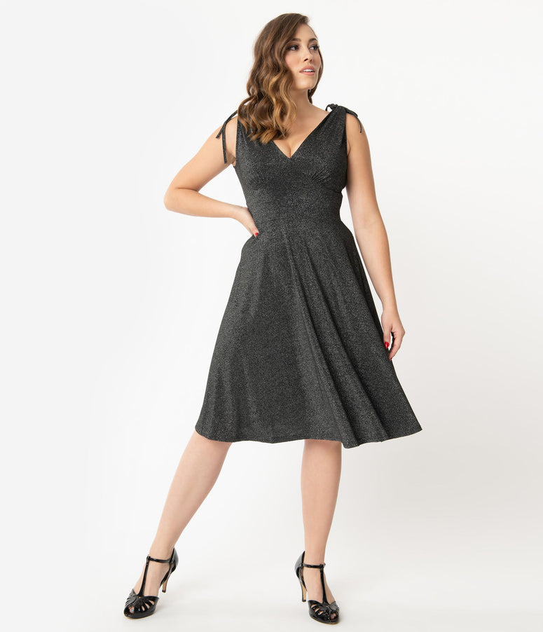 Hell Bunny Black Shimmer Athena Swing Dress