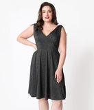 Hell Bunny Plus Size Black Shimmer Athena Swing Dress