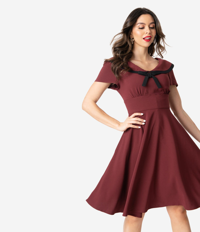 Hell Bunny 1950s Burgundy Red Nautical Thea Swing Dress